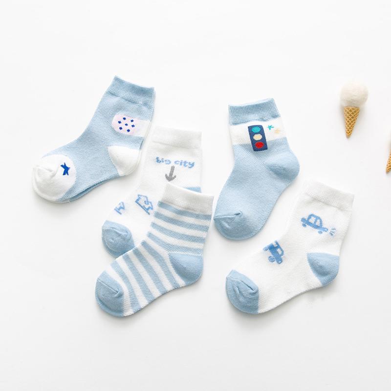 5 Pairs Kids Baby Girls Boys Cute Cartoon Thin Mesh Cotton Socks Blue_M