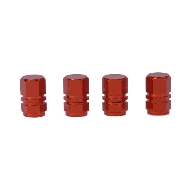 4 Pcs Colorful Aluminum Alloy Tire Valve Cap Automobiles Hexagon Wheel Tyre Valve Caps Auto Decorative Accessories  red