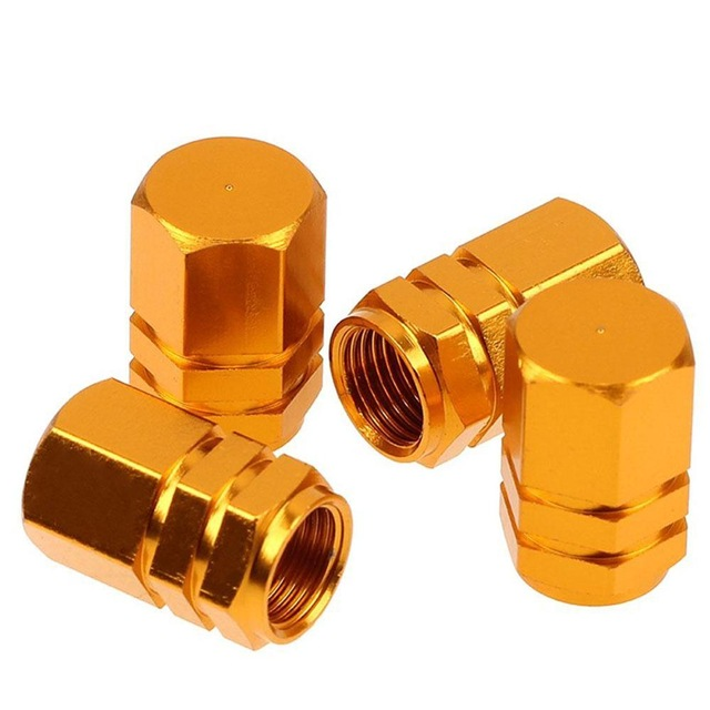 4 Pcs Colorful Aluminum Alloy Tire Valve Cap Automobiles Hexagon Wheel Tyre Valve Caps Auto Decorative Accessories  Gold