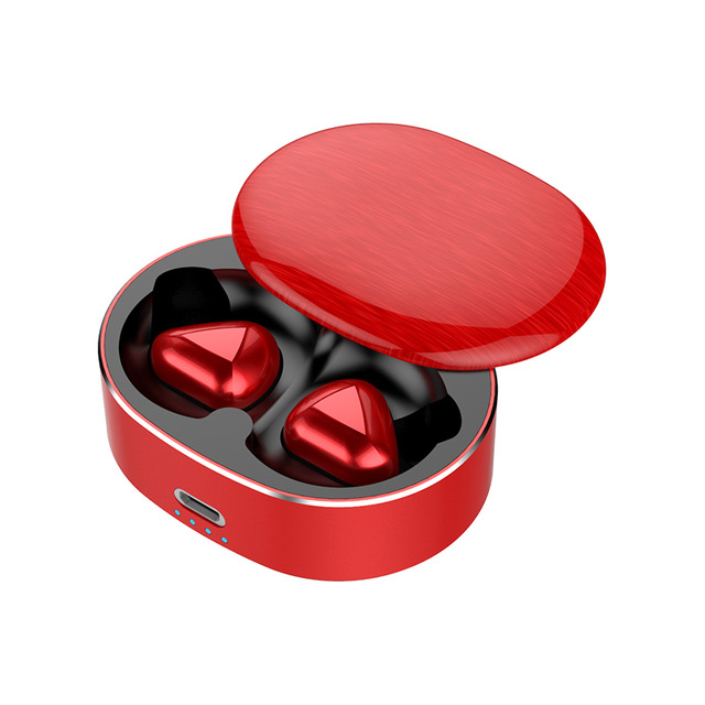 T50 TWS Bluetooth Earphone Stereo Touch Control Bass BT 5.0 Eeadphones With Mic Handsfree Earbuds AI Control red