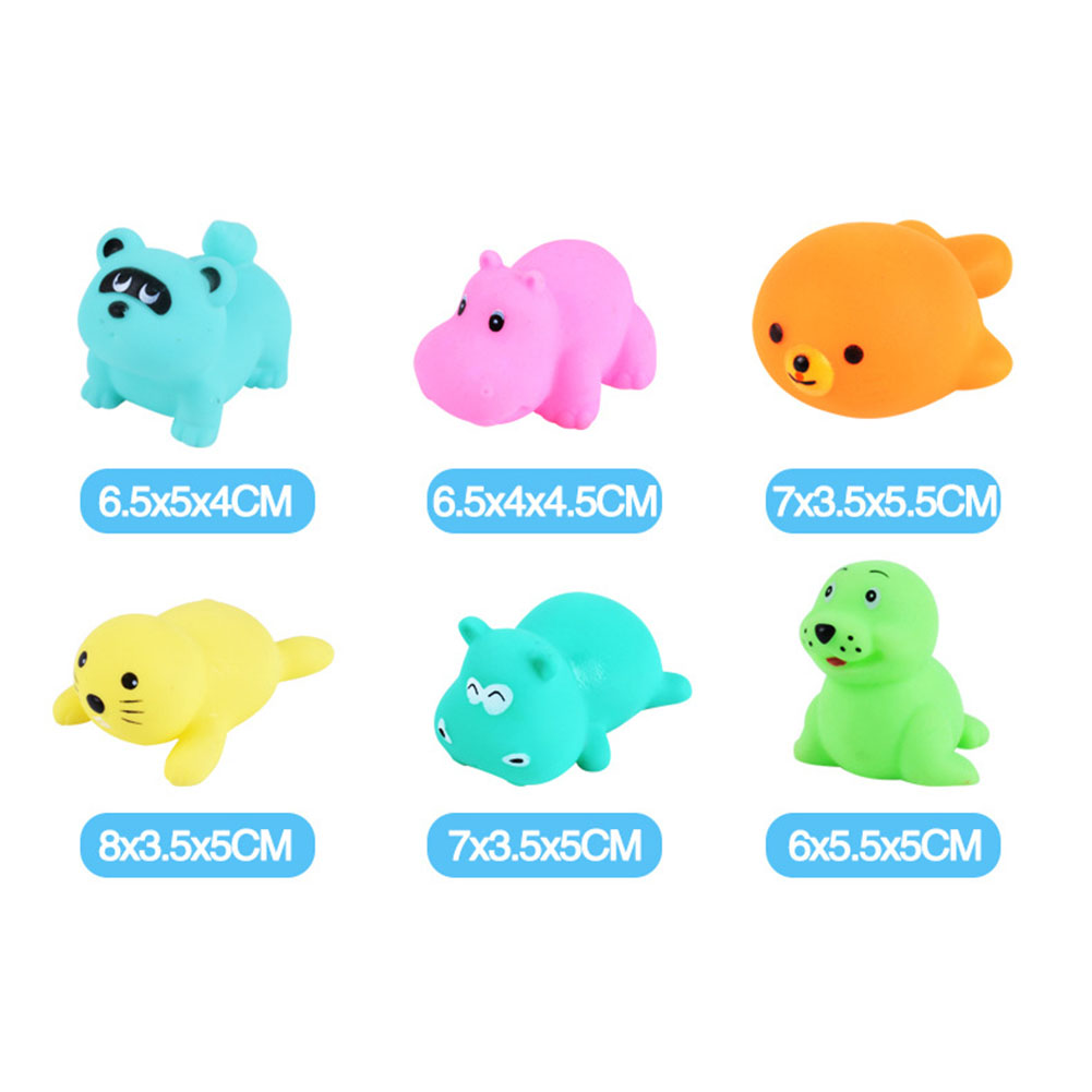 Children's Swimming Bathing Shower Water Toys Squeezing Squeaking Vocal Animals Duck Giraffe Sea Lion Toy 6pcs sea lions-75g