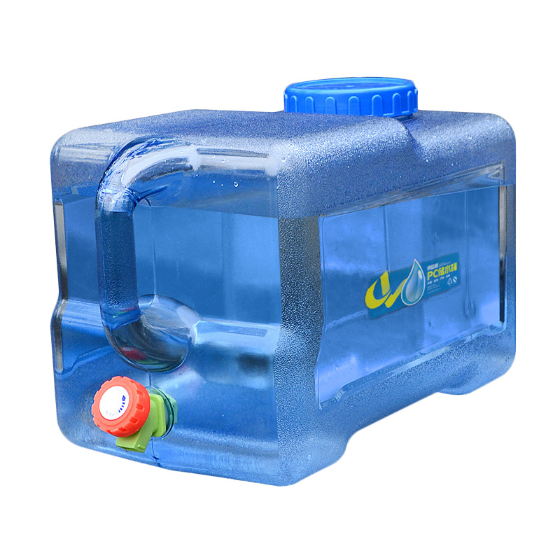 Outdoor 18L Thicken Plastic Water Tank Portable Tote Bucket Water Carrier with Water Faucet