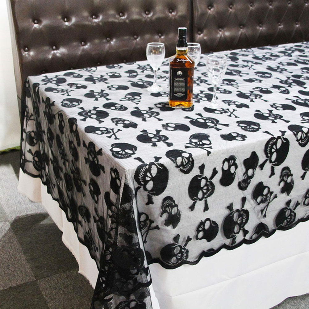 Round Shape Skull Skeleton Pattern Lace Table Cover for Halloween Party Decor black_60x104inch