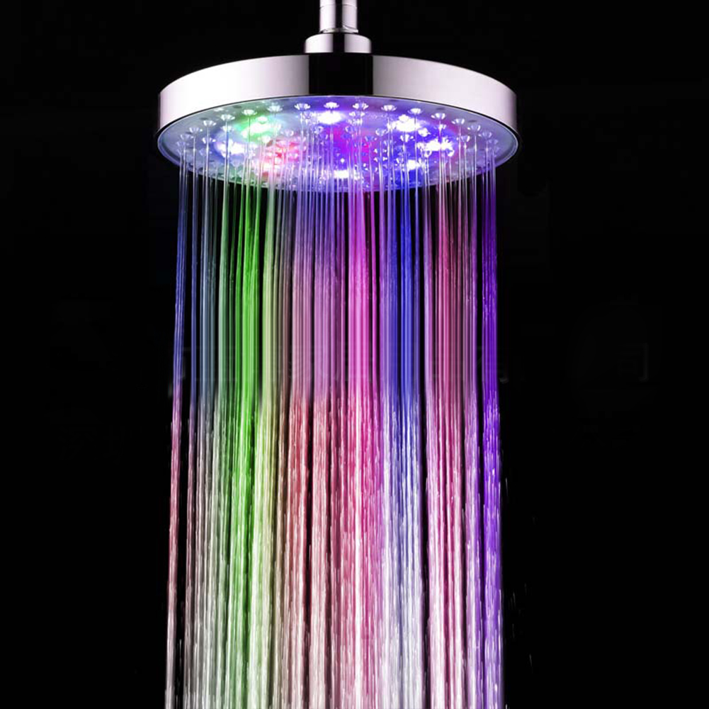 8inches Color Changing Shower  Head Bathroom Rain Top Showerhead Colorful automatic color change