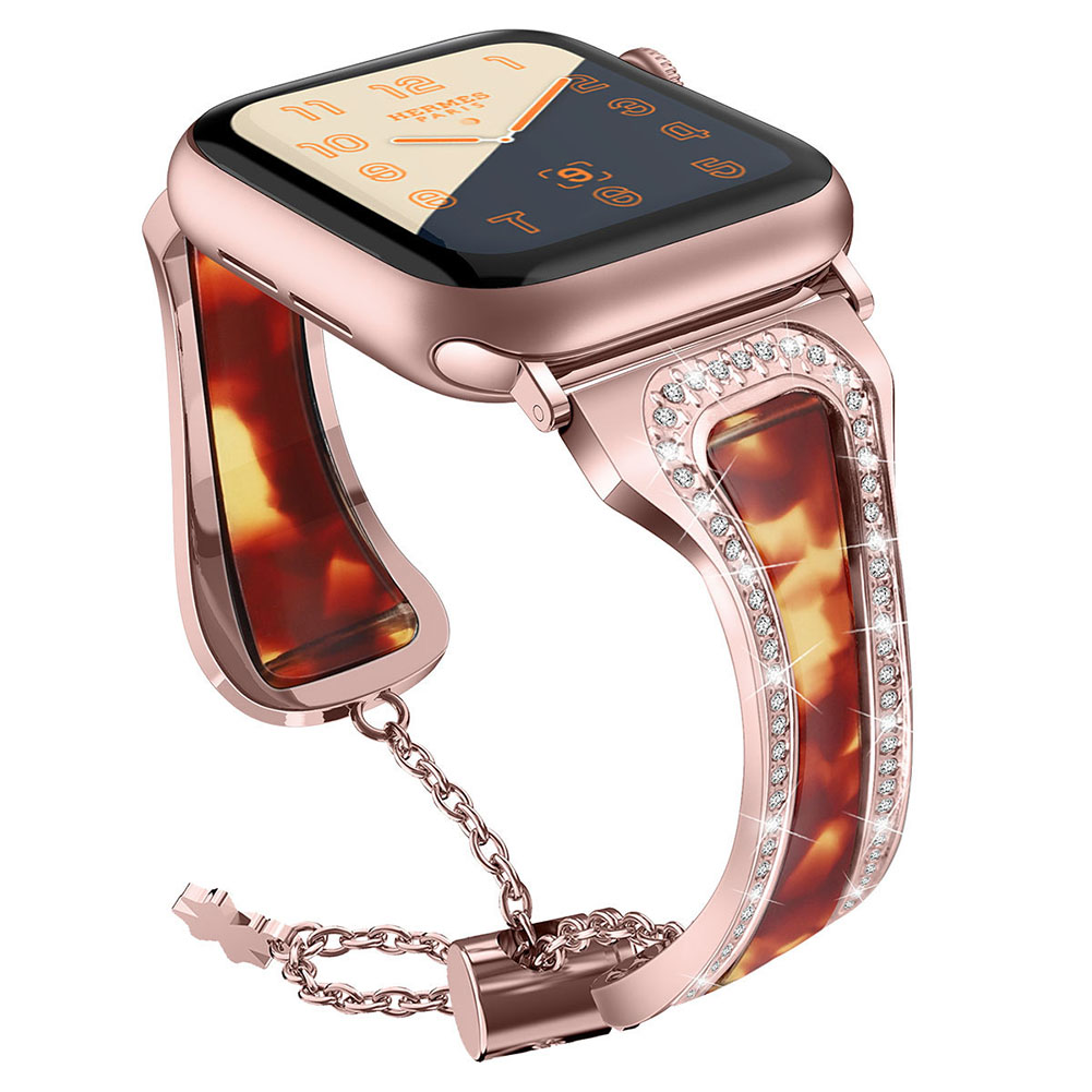 Metal Stainless Steel Resin Watch Strap for apple watch1/2/3/4 Generations Color + rose powder 38mm