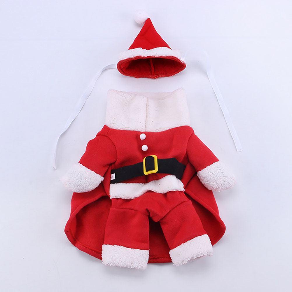 Funny Cosplay Standing Coat Clothes for Christmas Pet Dogs Teddy Bichon Wear red_XL
