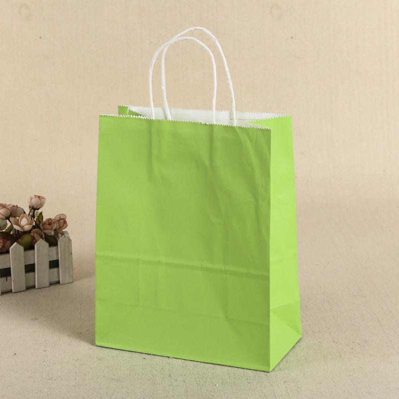 General Gift Shopping Garment Square Paper Packing Bag Durable Handle Recyclable Kraft Paper Bag Multiple Color Choice Green_16X22X8CM