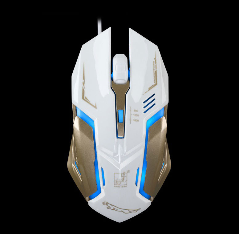 USB Wired Photoluminescent Game Mouse Matte black steel bottom