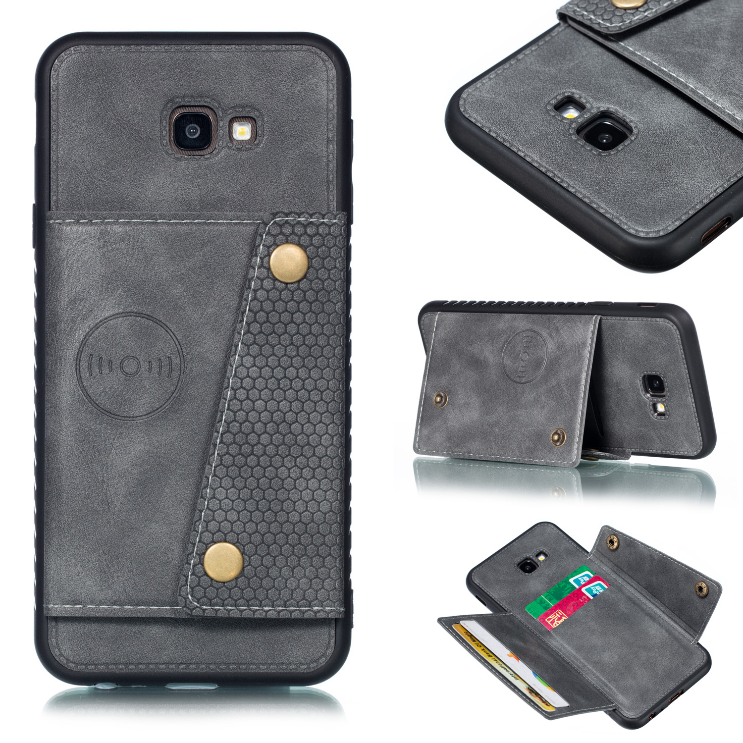 For Samsung J4 PLUS PU Protective Phone Back Case with Card Slot Bracket gray