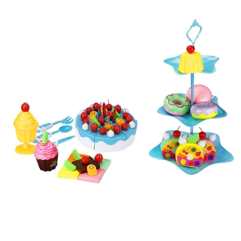 86Pcs/Set Children High Grade Plastic Fruit Cake Toy Simulation Kitchen Toy Intelligent Development