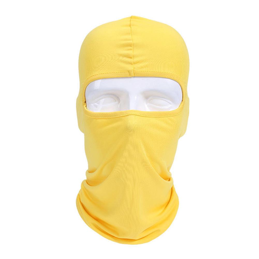 Lycra Fabrics Ski Face Mask Motorcycle Cycling Bike Skateboard Balaclava Yellow_Average size