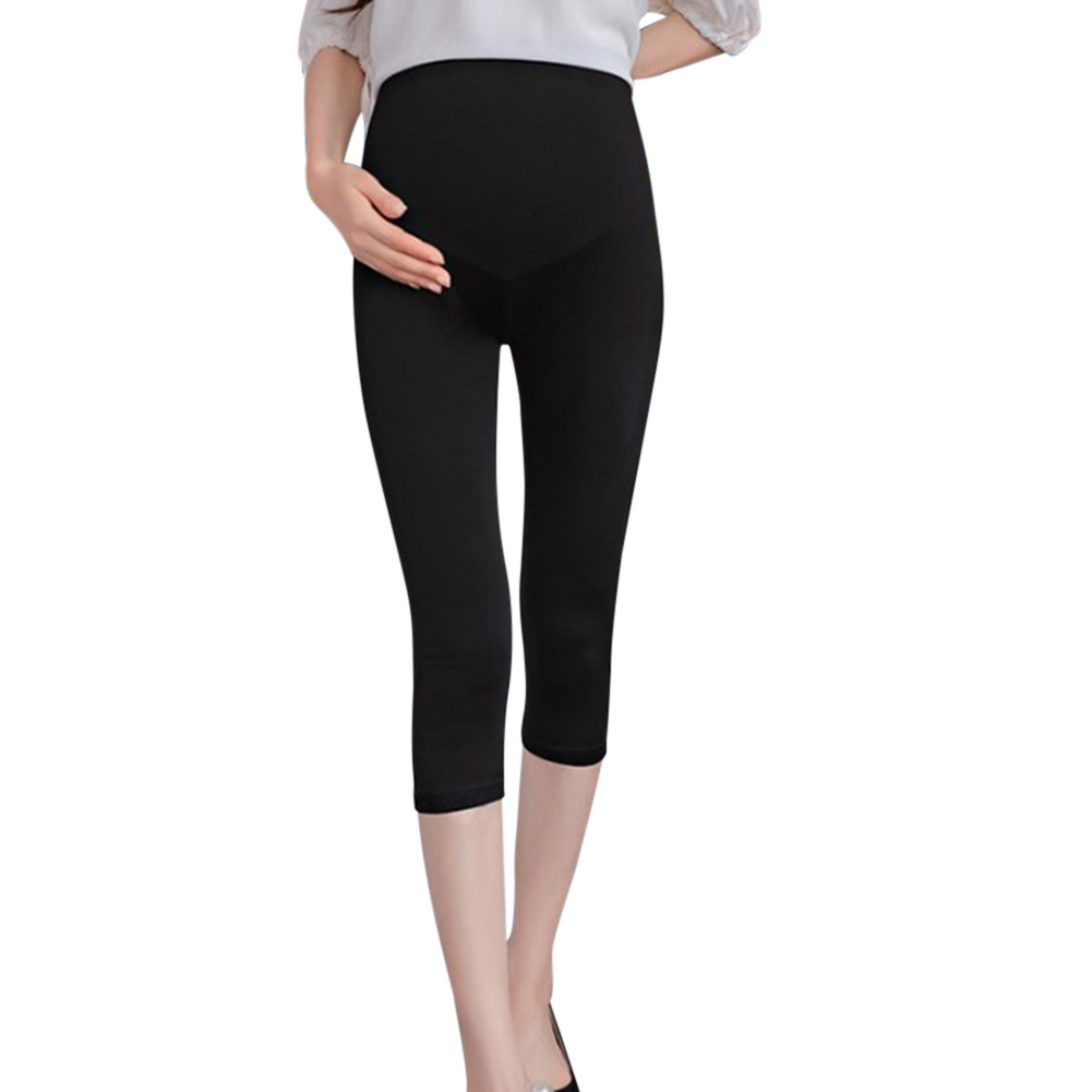 Cotton Abdomen Support Leggings Cropped Trousers for Pregnant Woman  Black (plain version)_XL