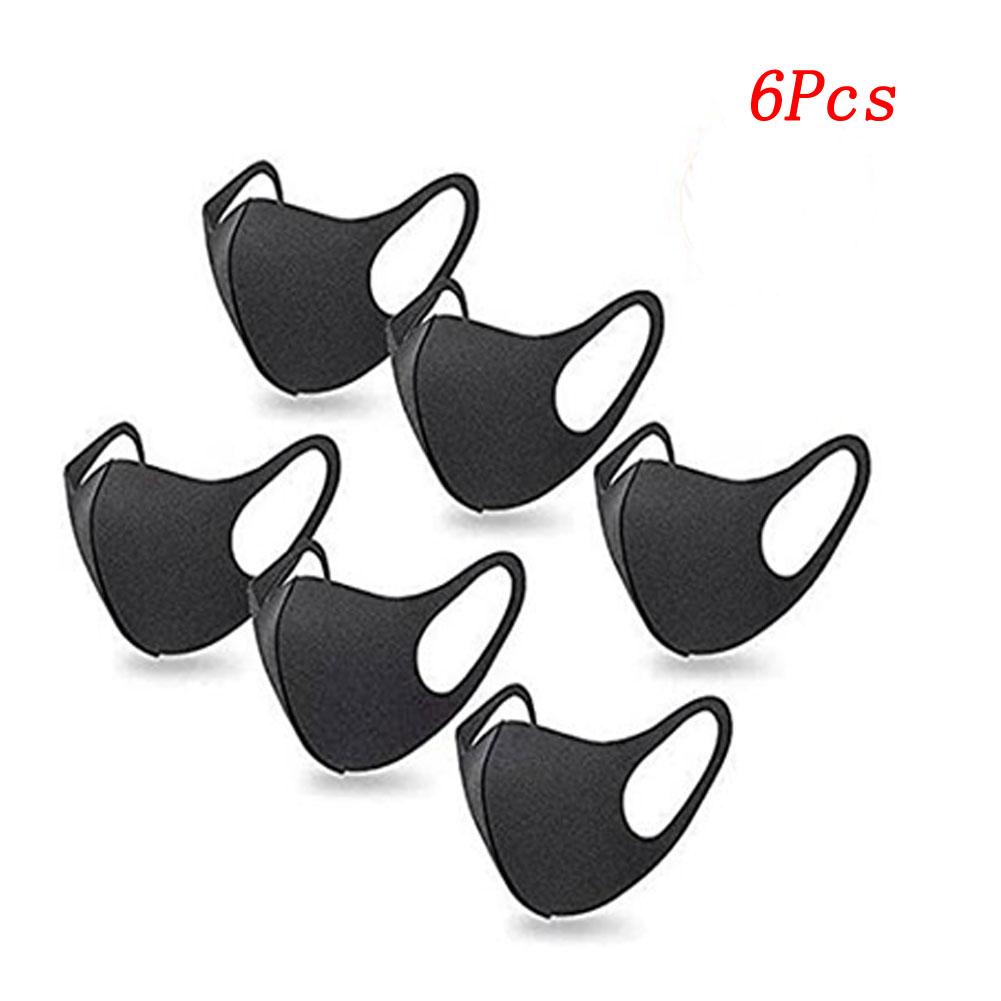 6pcs/bag Anti-haze Mask Men Women Breathable Dust-proof Air Cotton Stereo Black Mask black