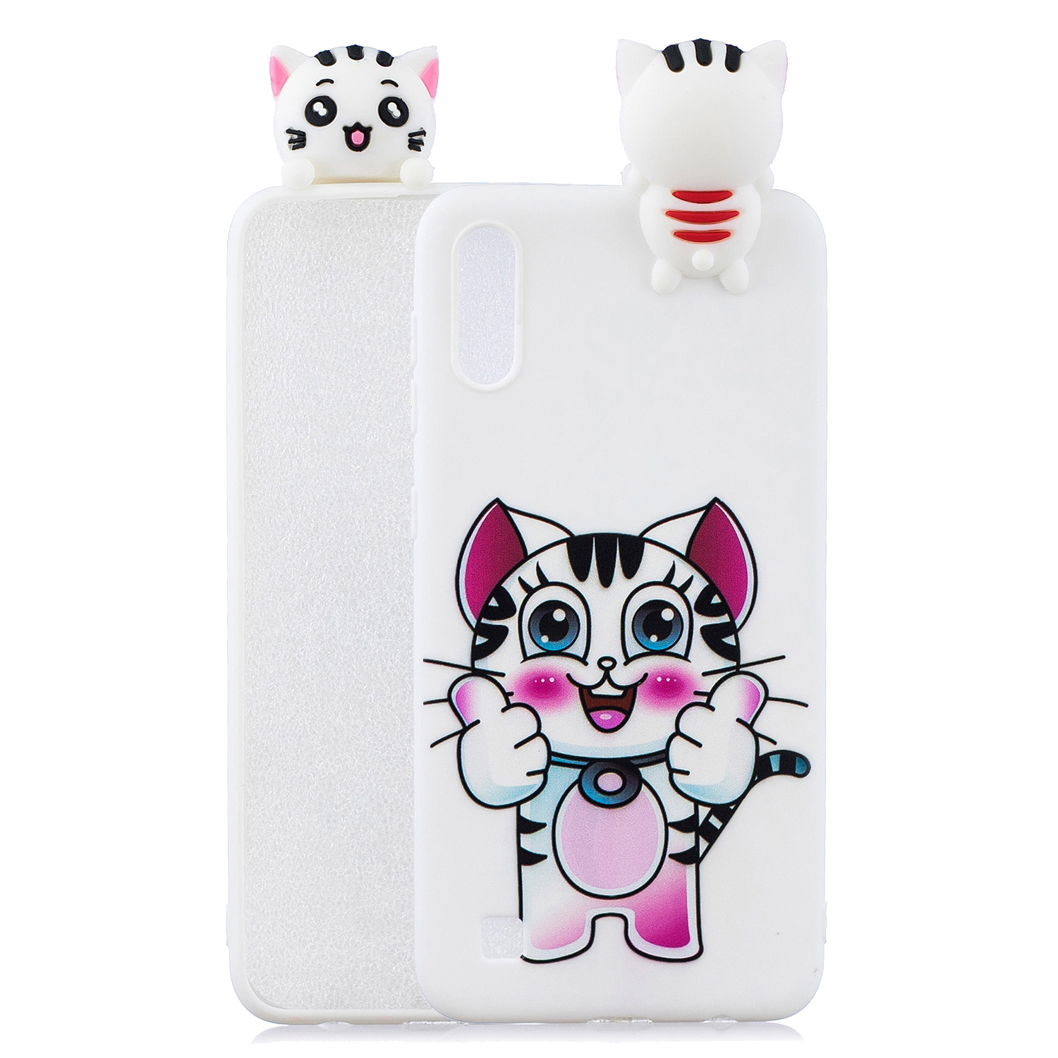 For Samsung A10 3D Cute Coloured Painted Animal TPU Anti-scratch Non-slip Protective Cover Back Case kitten