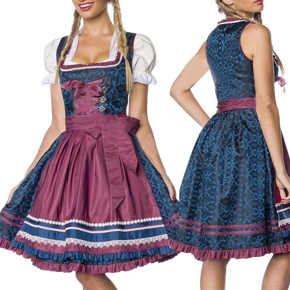 Women Oktoberfest Style Halloween Costume Bavarian Dirndl Style Dress Dark blue_XL