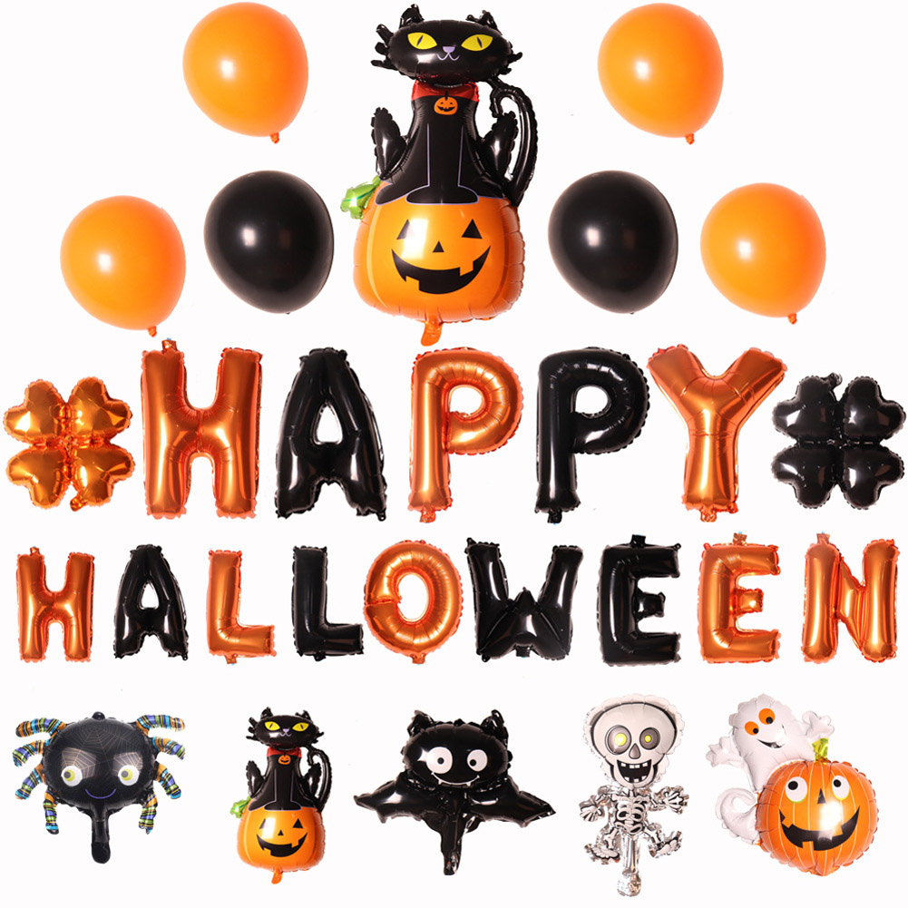 Halloween Banquets Cartoon Ghost Festival Bar Ktv Party Pumpkin Skull Decoration Aluminum Film Balloon As shown