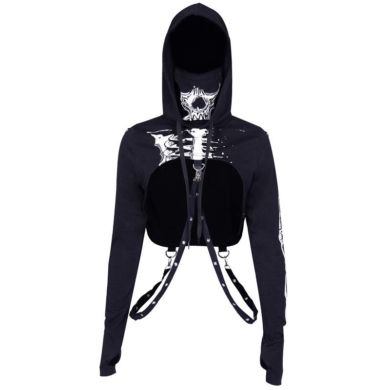 Women Fashion Halloween Series Street Style Skull Printing Hooded Sweatshirts black_M