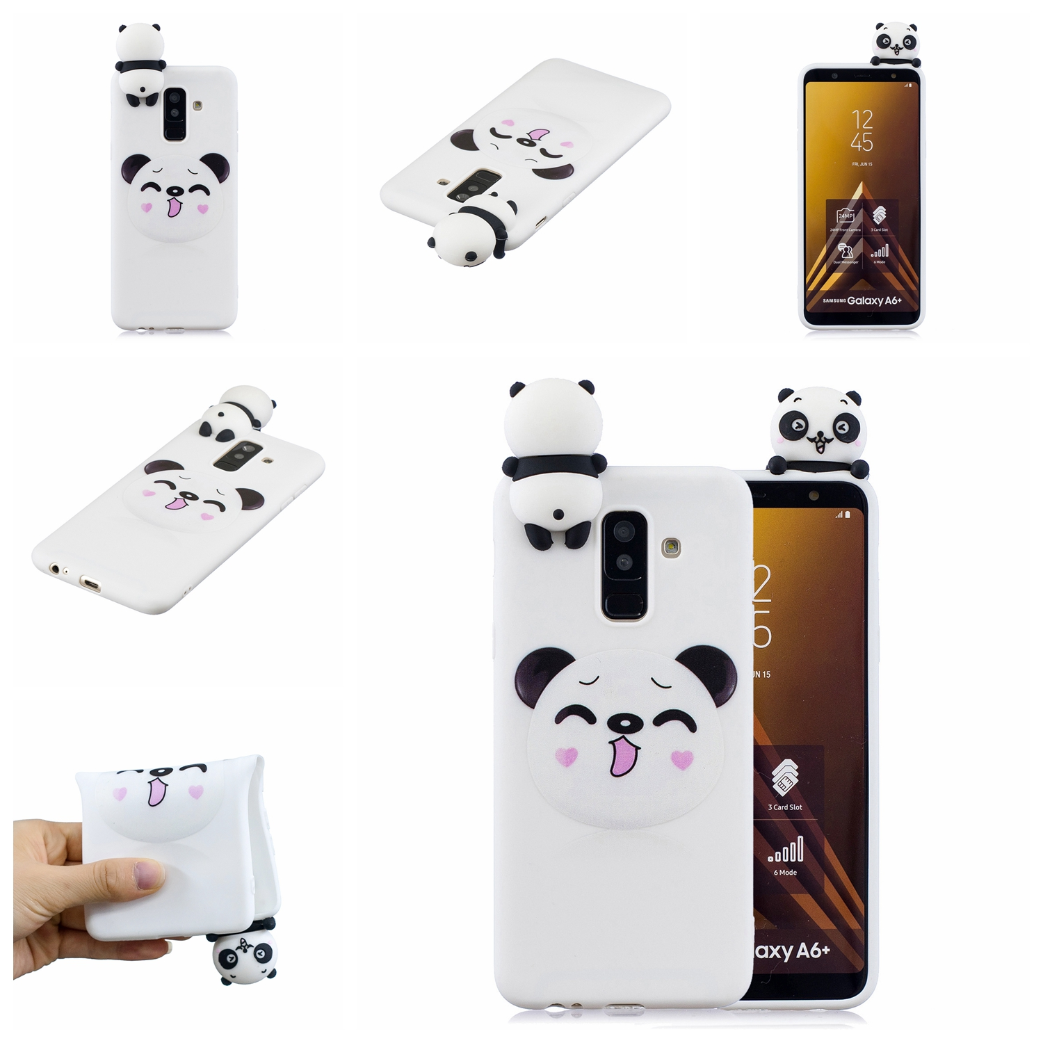 For Samsung A6 plus 2018 3D Cartoon Lovely Coloured Painted Soft TPU Back Cover Non-slip Shockproof Full Protective Case Smiley panda