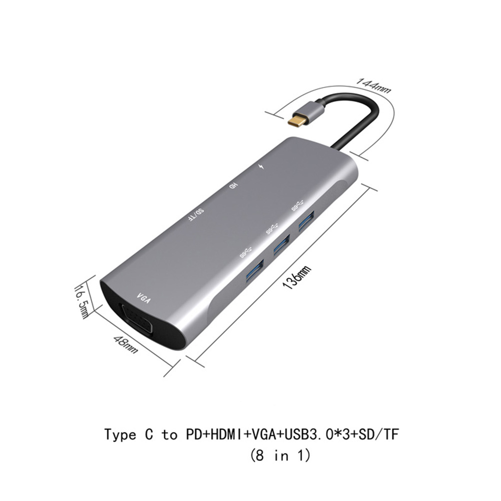 USB3.1 Docking Stations Metal 8 in 1 Multifunctional Type-c to HDMI/PD/VGA USB 3.1 Charger Hub Adapter gray