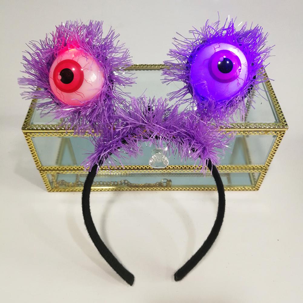 Halloween Party LED Glow Eye Luminous Eyeball Props Hairband Flash Eyeball Hair Hoop Purple eyeballs villi