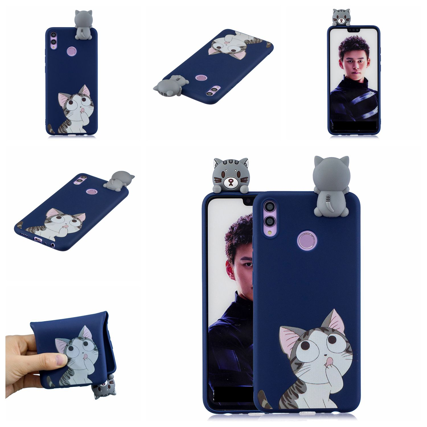 For Huawei Nova 3I 3D Cartoon Lovely Coloured Painted Soft TPU Back Cover Non-slip Shockproof Full Protective Case big face cat
