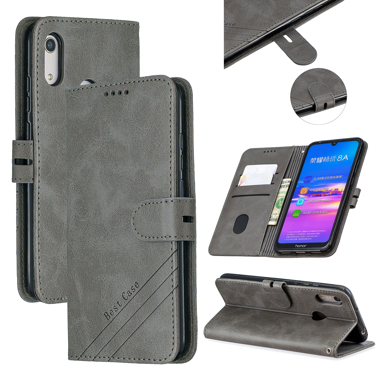For HUAWEI Y6 2019 Denim Pattern Solid Color Flip Wallet PU Leather Protective Phone Case with Buckle & Bracket gray