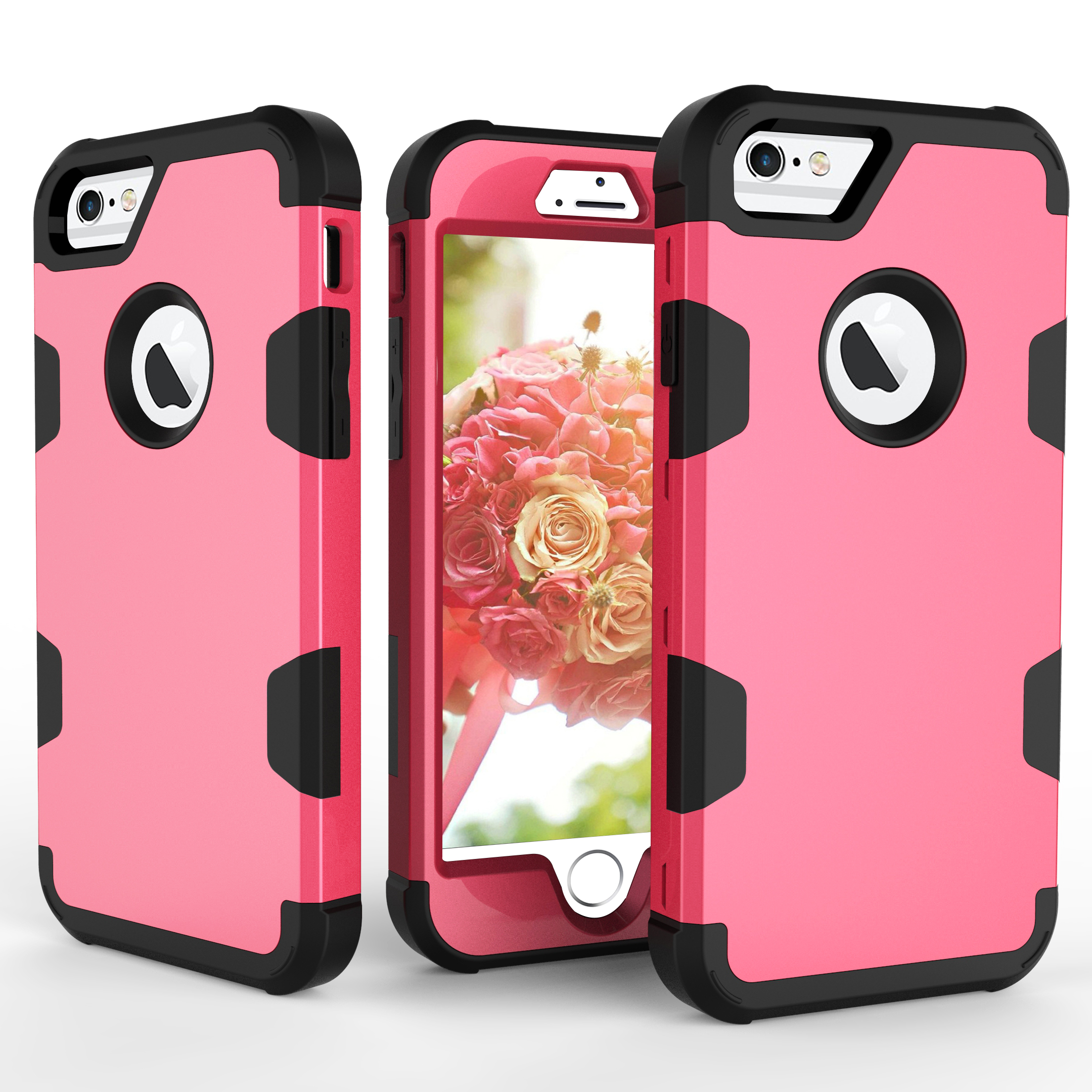 For iPhone 6/6S PC+ Silicone 2 in 1 Hit Color Tri-proof Shockproof Dustproof Anti-fall Protective Cover Back Case Rose red + black