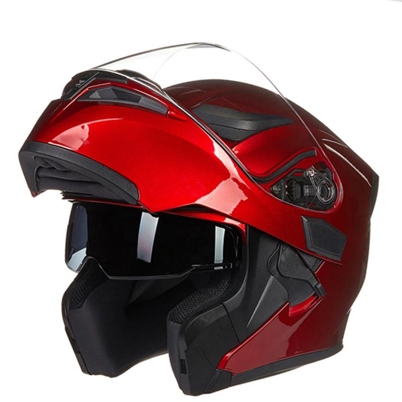 Double Lens Motorcycle Helmet Washable Liner Aerodynamic Design Helmet Red L