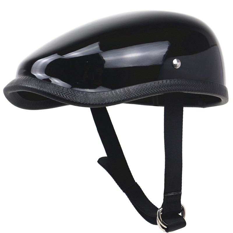 Retro Motorcycle Helmet Light Weight Fiberglass Motor Helmet Bright black L