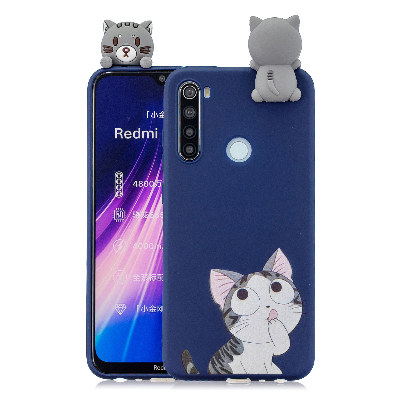 For Redmi NOTE 8T 3D Cartoon Painting Back Cover Soft TPU Mobile Phone Case Shell big face cat