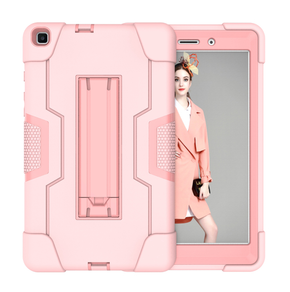 For Samsung Tab A T290 T295 PC+ Silicone Hit Color Armor Case Tri-proof Shockproof Dustproof Anti-fall Protective Tablet Cover  Rose gold