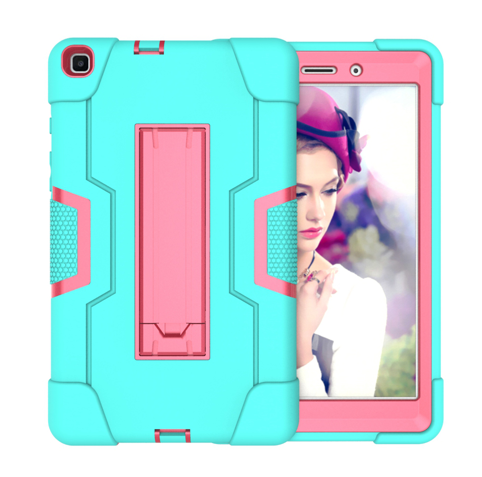 For Samsung Tab A T290 T295 PC+ Silicone Hit Color Armor Case Tri-proof Shockproof Dustproof Anti-fall Protective Tablet Cover  Mint green + rose red