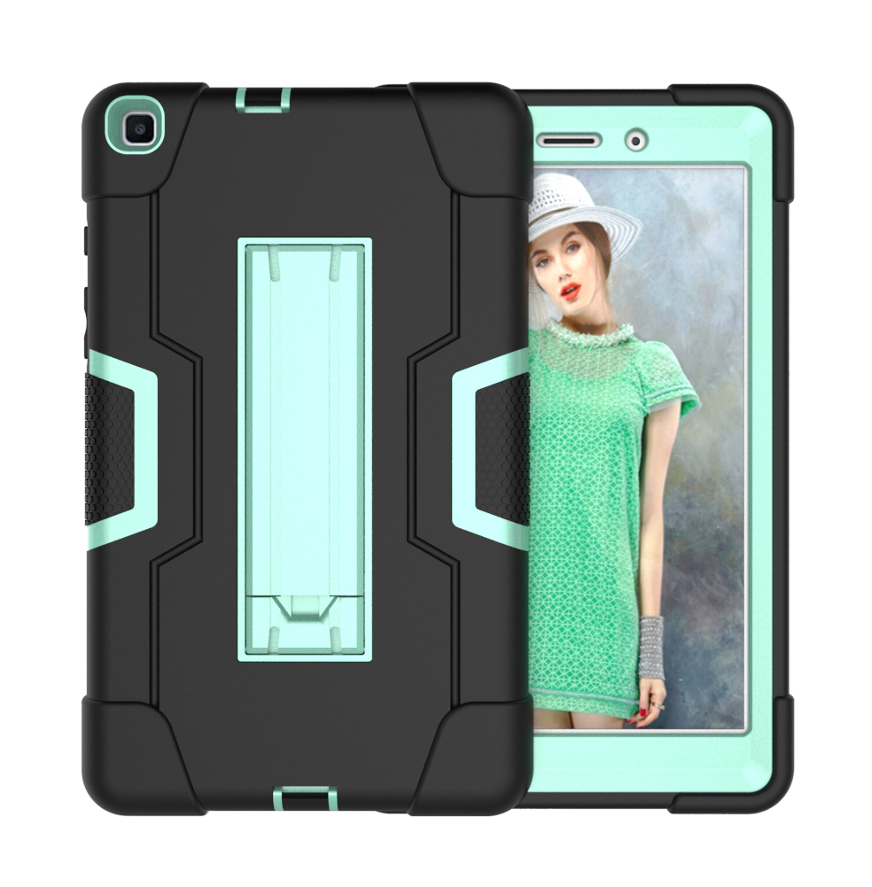For Samsung Tab A T290 T295 PC+ Silicone Hit Color Armor Case Tri-proof Shockproof Dustproof Anti-fall Protective Tablet Cover  Black + mint green