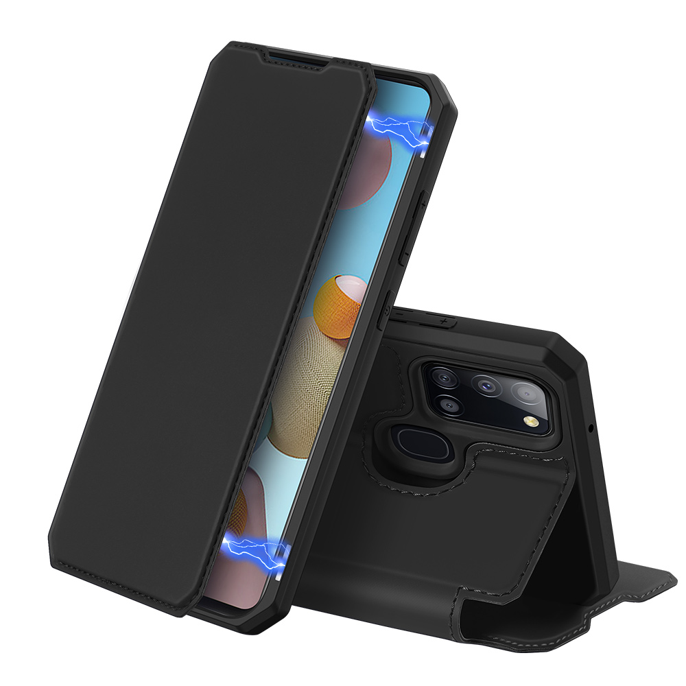 DUX DUCIS for Samsung A21S/A51 5G Magnetic Mobile Phone Holder Leather Case with Cards Slot black_Samsung A21S