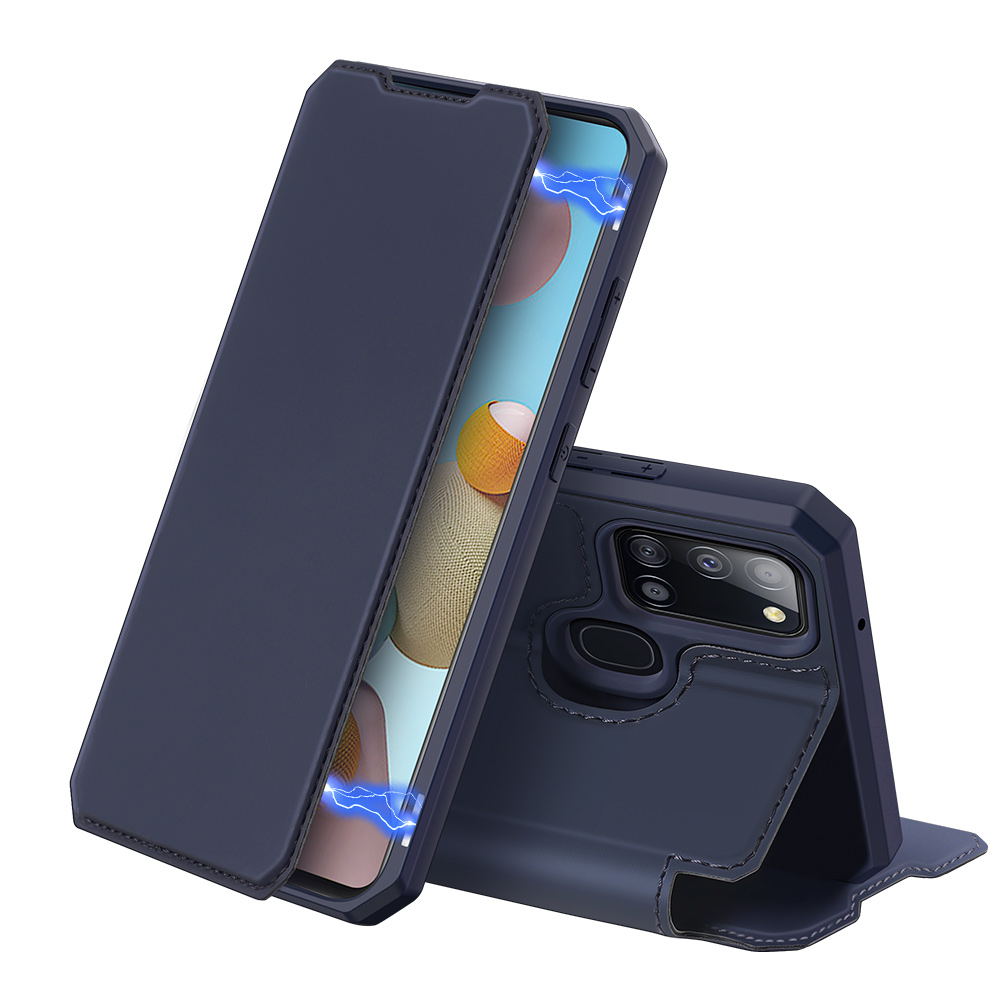 DUX DUCIS for Samsung A21S/A51 5G Magnetic Mobile Phone Holder Leather Case with Cards Slot blue_Samsung A21S