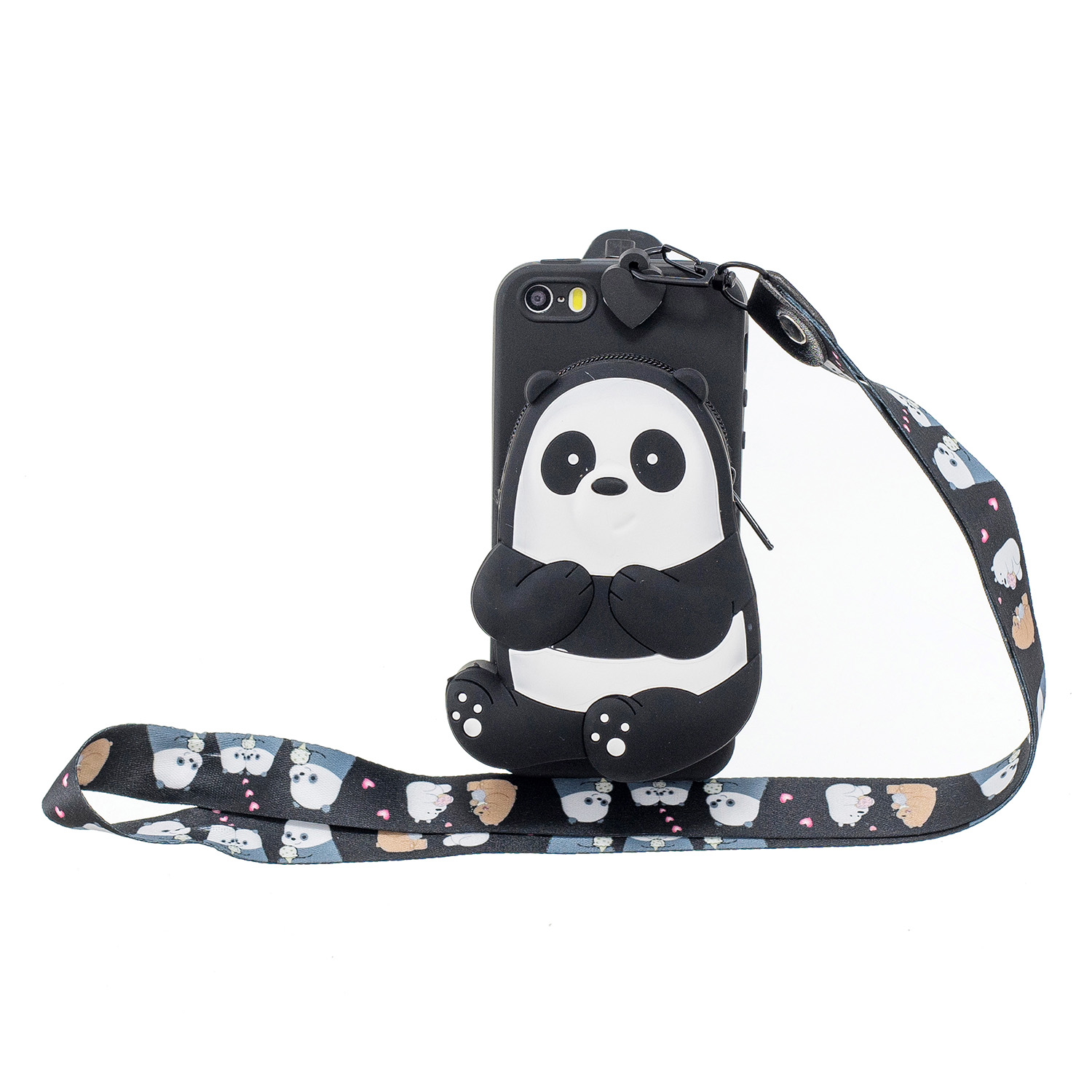 For Iphone 5 / 5S / SE Cartoon Hanging Lanyard + Fall Resistant Cartoon TPU Full Protective Mobile Phone Cover with Coin Purse 5 black striped bears