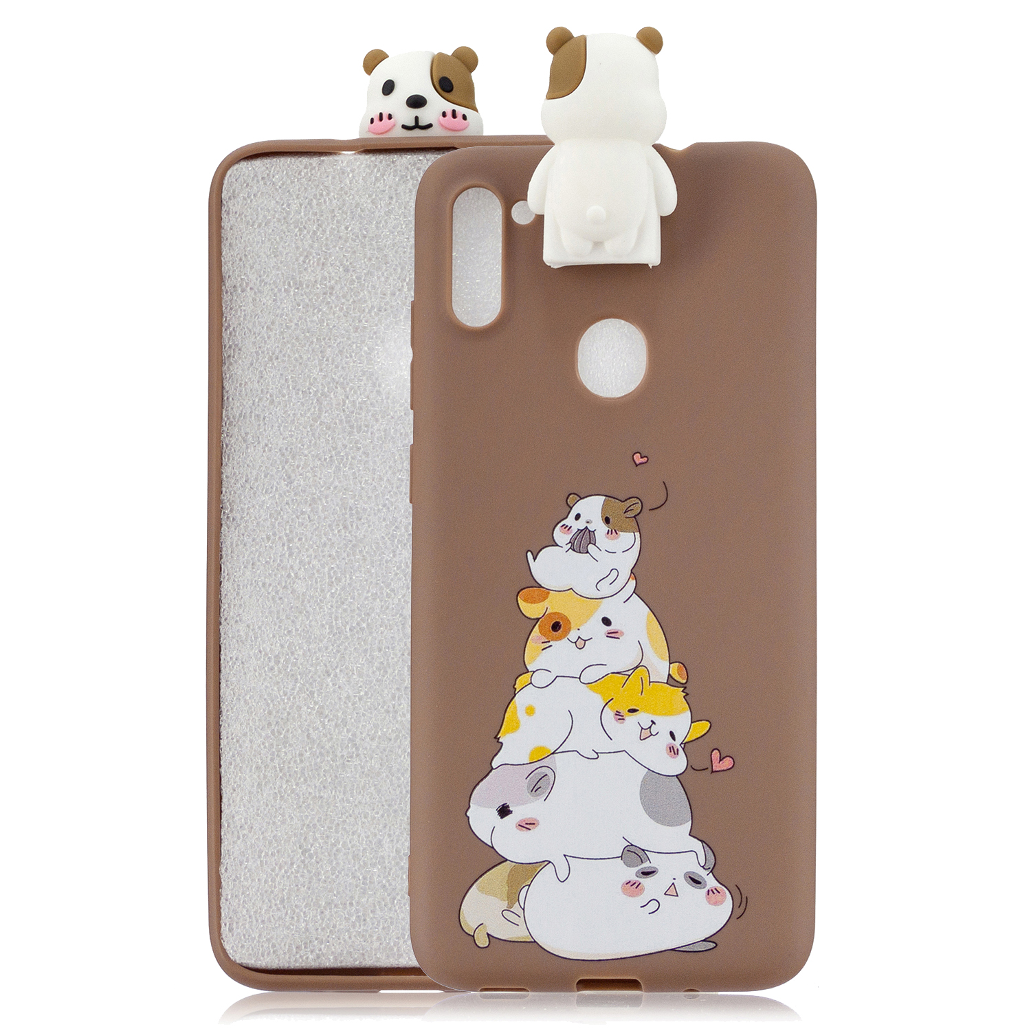 For Samsung A11 Soft TPU Back Cover Cartoon Painting Mobile Phone Case Shell with Bracket Hamsters