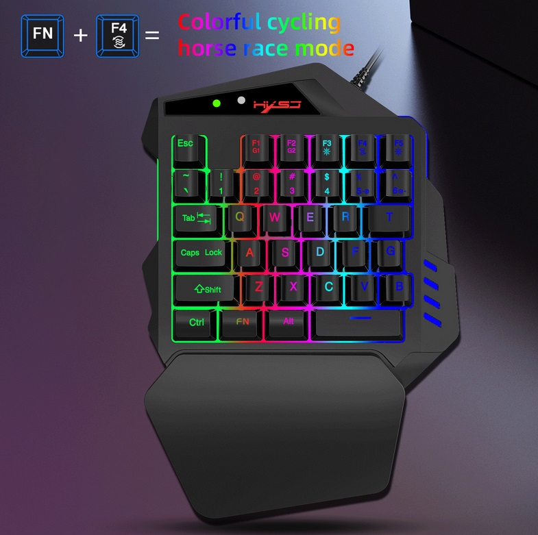 Single Handed V500 Game Keyboard One Hand Ergonomic Gaming Keypad for PS3 PS4 Black RGB