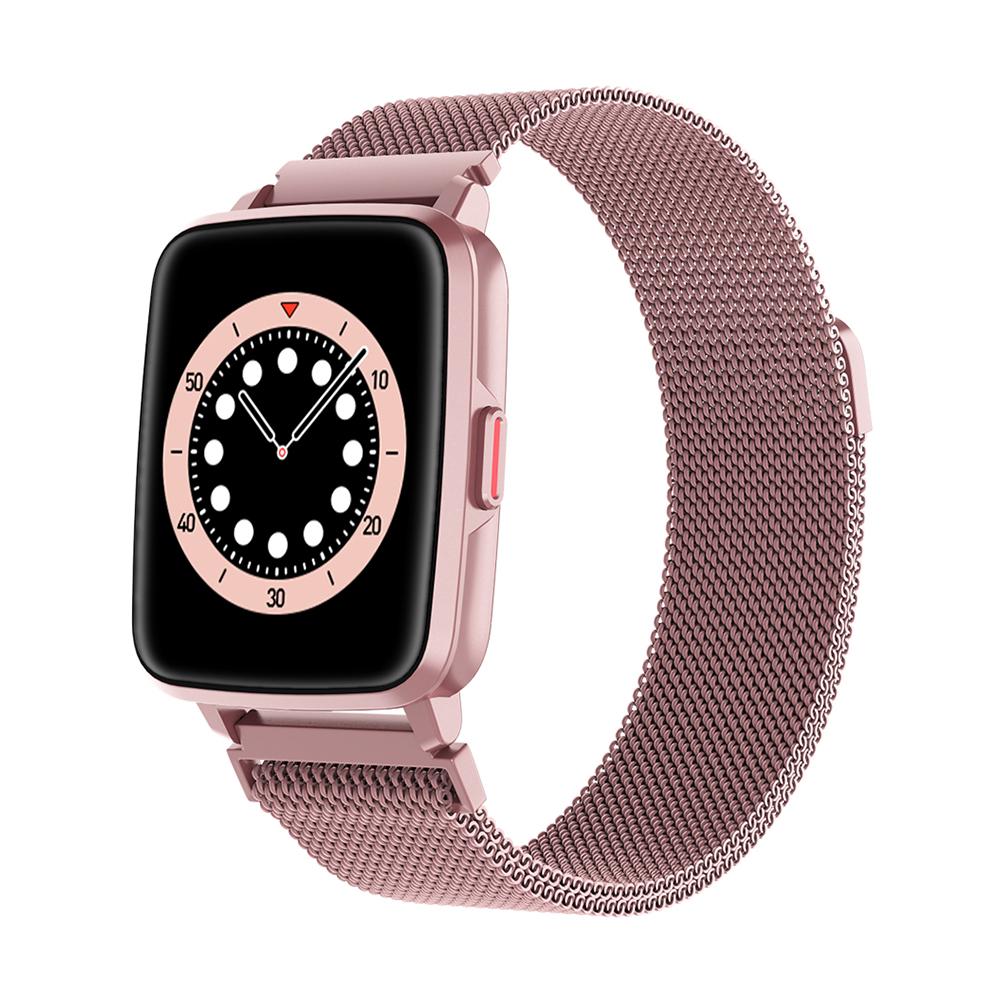 Smart  Watch Hd Screen Music Ip68 Waterproof Sports Monitoring Heart Rate Sleep Pedometer Smart Watch Pink Steel Strip