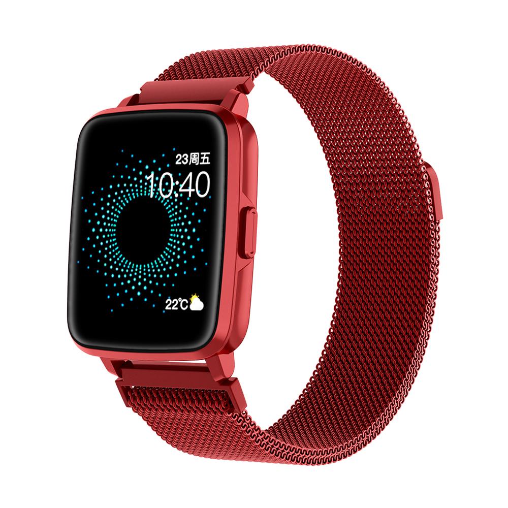Smart  Watch Hd Screen Music Ip68 Waterproof Sports Monitoring Heart Rate Sleep Pedometer Smart Watch Red steel belt