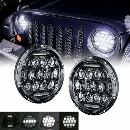 1 Pair 7 inch 75W LED Headlight Daytime Running Light DC12V for Car Auto 7