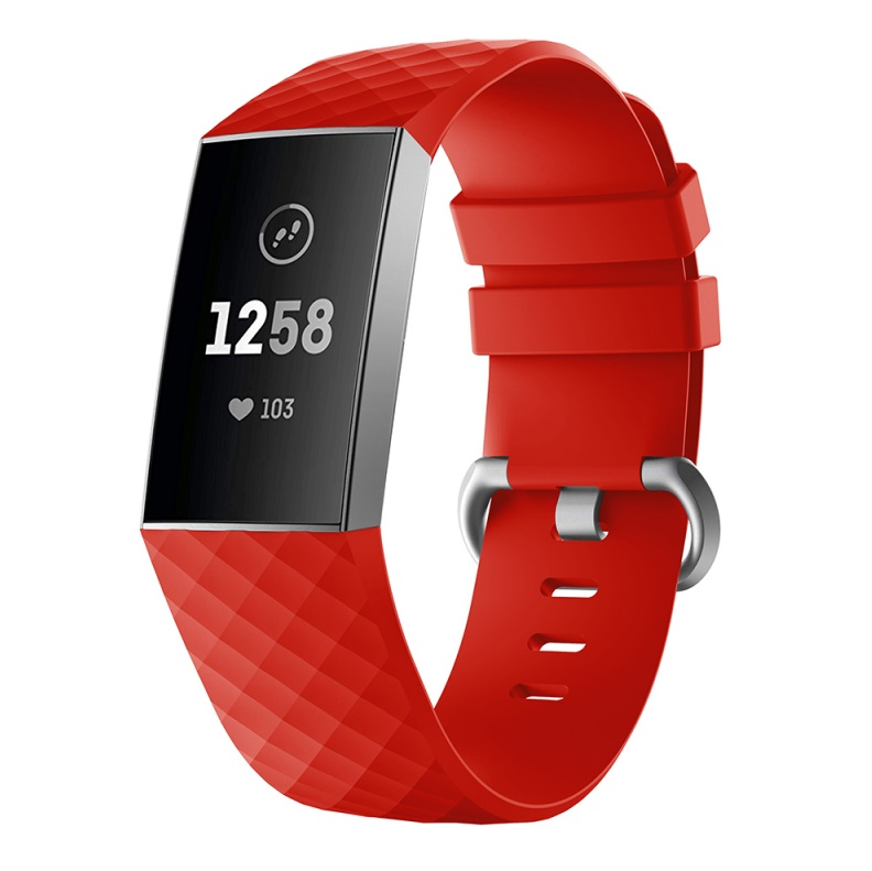 Watch Bands Compatible with Fitbit Charge 3/ Fitbit Charge 4 Waterproof Replacement Watch Strap Wristband red_L