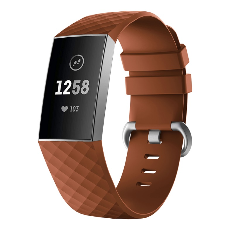 Watch Bands Compatible with Fitbit Charge 3/ Fitbit Charge 4 Waterproof Replacement Watch Strap Wristband brown_L