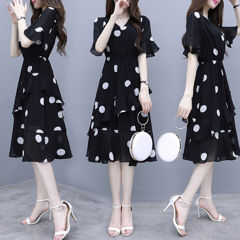 Women Midi Dress V-neck Polka Dot High Waist Irregular Short Ruffle Sleeves Summer Dress Black_L