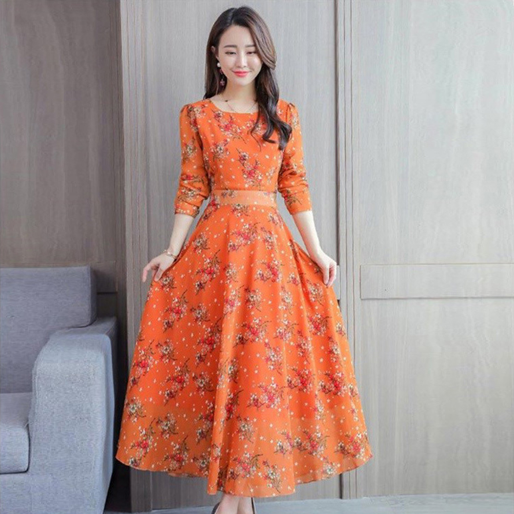 Floral Printed Dress of Middle Sleeves and Round Neck Woman Waist-tight Leisure Dress Yellow_XL