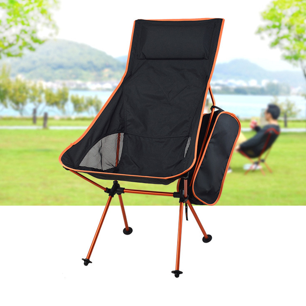 Outdoor Folding Chair Barbecue Chair Recliner BBQ Folding Chair Fishing Chair Aluminum Alloy Chair Orange_40 * 43.5cm