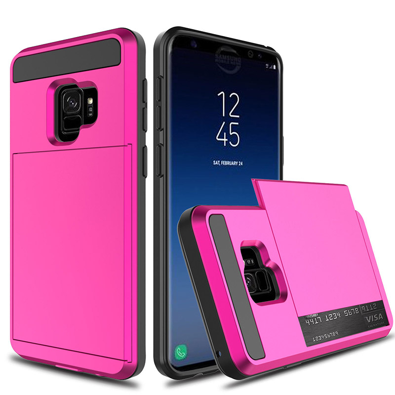 2 in 1 Ultra Slim Shockproof Full Protective Case with Card Wallet Slot for Samsung Galaxy S9/S9 Plus