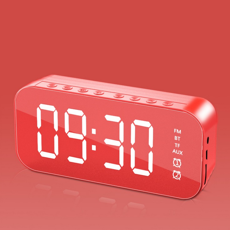 Bluetooth Speaker Mirror Multifunction Led Alarm Clock with Built-in Microphone red
