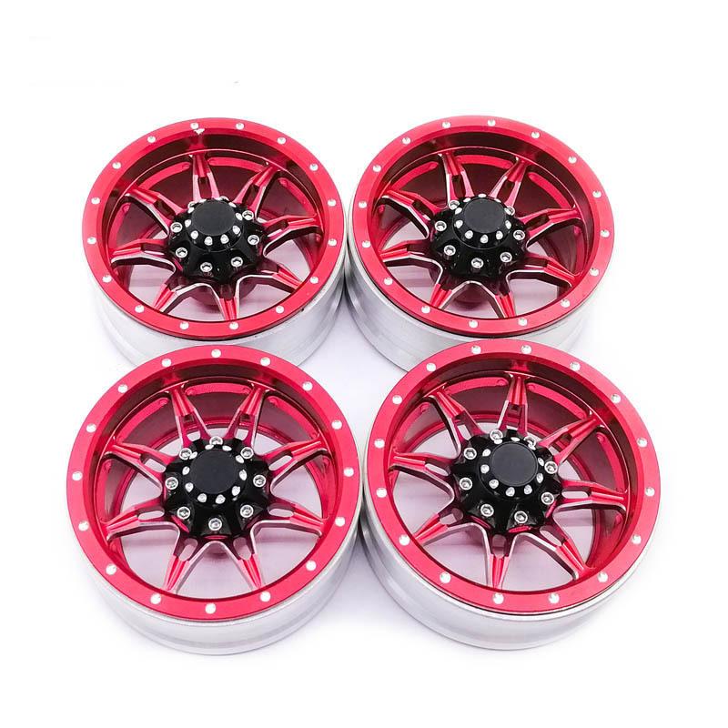 4Pcs RC Rock Crawler Metal Rims 1.9 Inches Beadlock for 1/10 Axial SCX10 90046 TAMIYA CC01 D90 D110 TF2 red