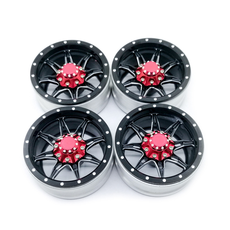 4Pcs RC Rock Crawler Metal Rims 1.9 Inches Beadlock for 1/10 Axial SCX10 90046 TAMIYA CC01 D90 D110 TF2 black